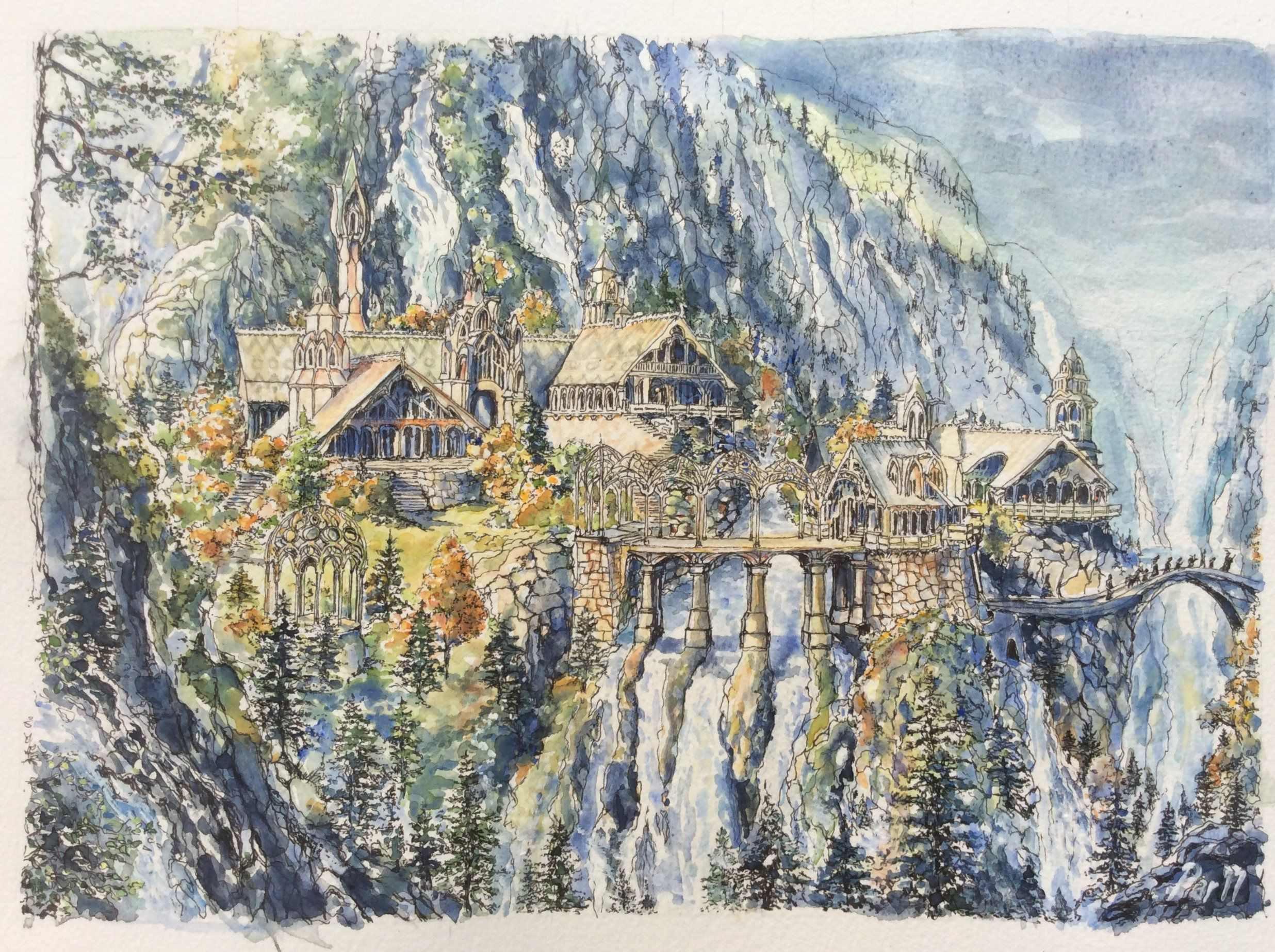 Rivendell Lord Of The Rings Print Lotr Landscape The