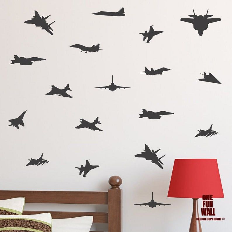 JET FIGHTER PLANE wall art sticker army jets kids boys bedroom stickers vinyl
