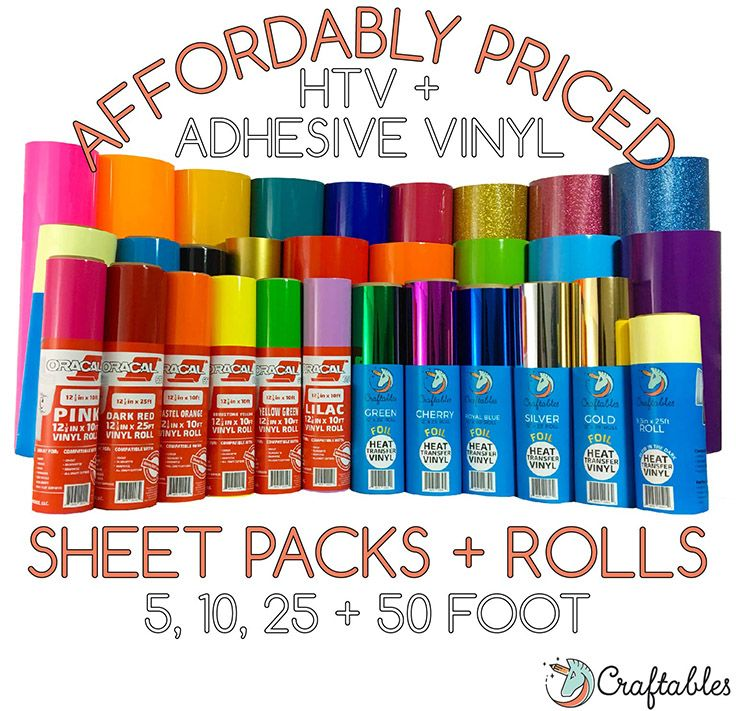 Affordably Priced And Packaged With Care Craftables Vinyl Rolls And Sheets 5 10 25 And 50 Roll Options Cricut Vinyl Cricut Creations Cricut Tutorials