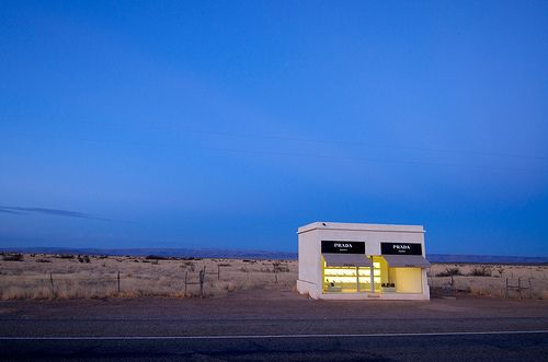 Prada Marfa is a permanently installed sculpture by artists Elmgreen and Dragset, situated 2.3 km (1.4 mi) northwest of Valentine, Texas, just off U.S. Route 90.