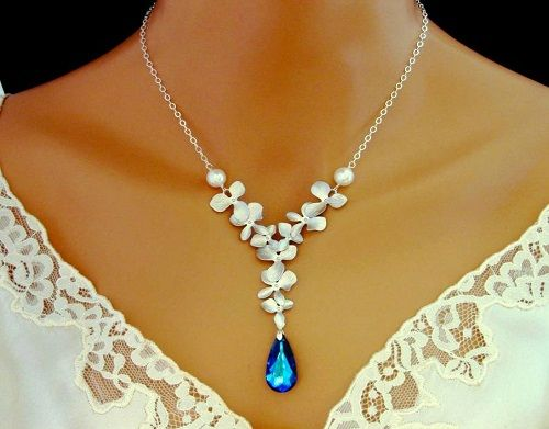 Simple Wedding Gold Necklace Designs Orchid Blue Crystal Bridal