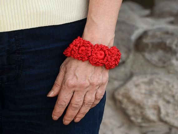 Red Crochet Bracelet, Irish Crochet flowers, Crochet Flowers Bracelet, Free form Crochet #irishcrochetflowers