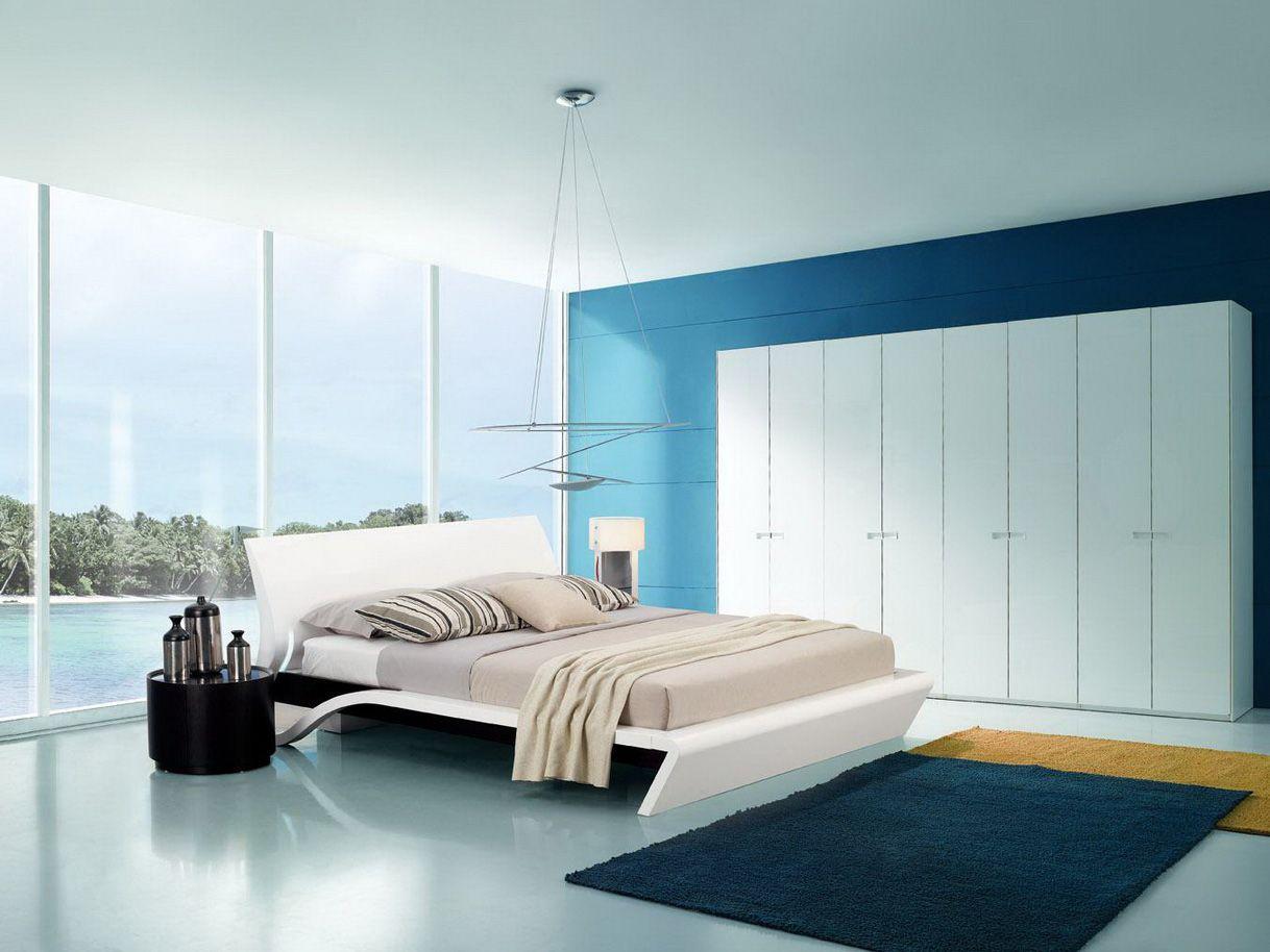 Bedroom Crazy Modern Blue Bedroom Idea With Futuristic Decor ...