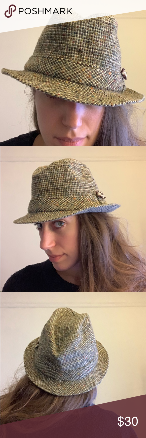 a0221dce5da Vintage • tweed wool fedora hat Great vintage condition - David Hanna    Sons Scottish brand