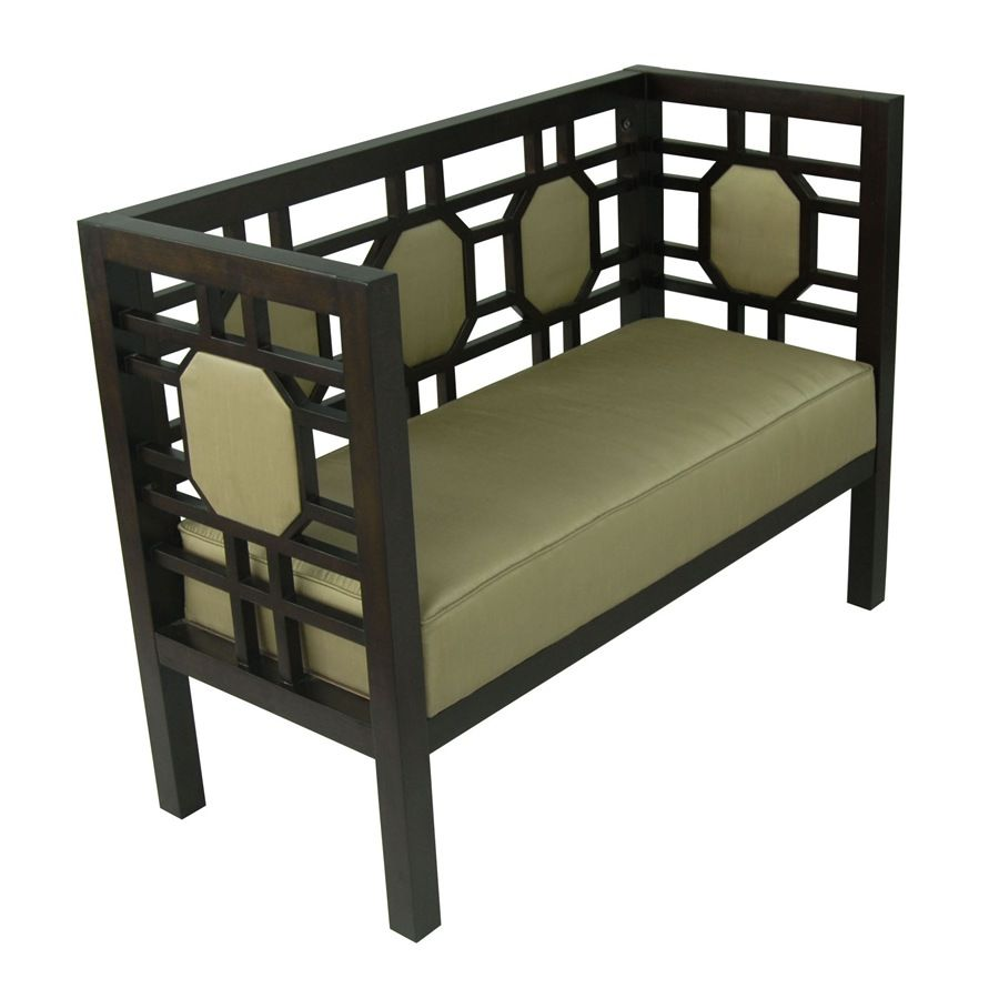 Fiona chinese chippendale style settee in espresso finish