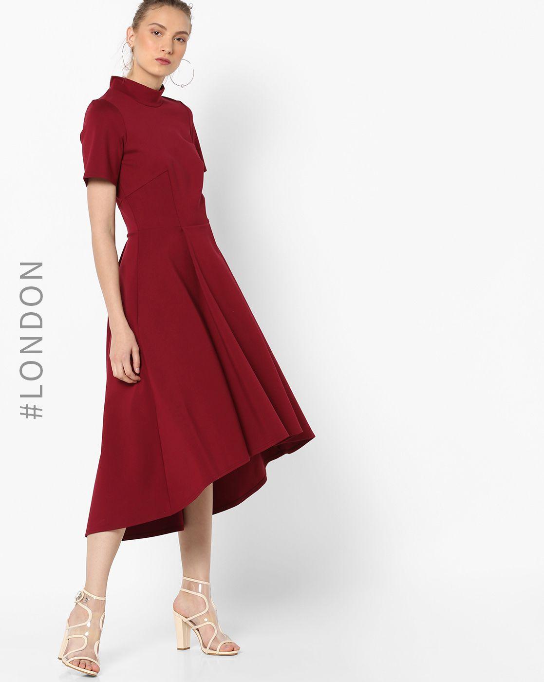 e1dae64e59066 Buy Closet London Women Oxblood High-Neck A-line Midi Dress