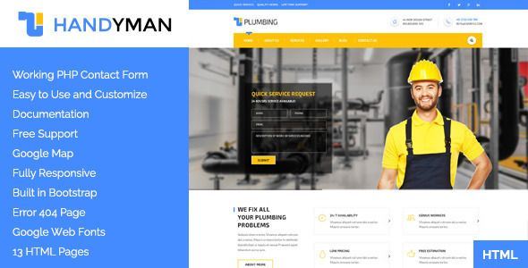 Handyman Construction, Building a Plumbing HTML Template - check request form