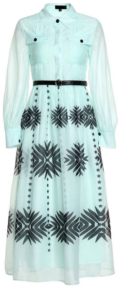 66494eca4629 Printed Pleated Sheer-Sleeved Midi Shirt Dress