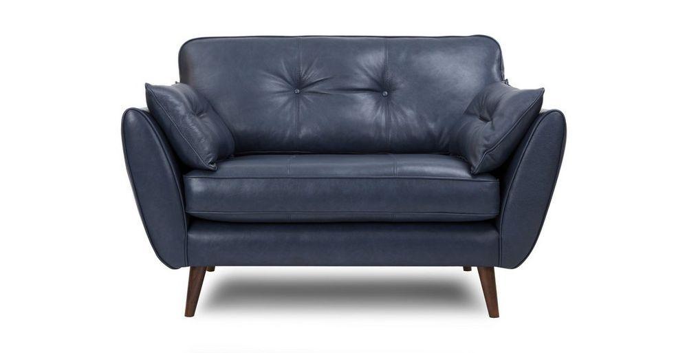 Zinc: Leather Cuddler Sofa | Blue leather sofa, Cuddler sofa
