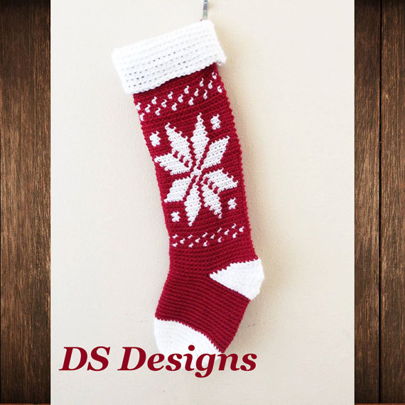 Crochet Pattern Snowflake Christmas Stocking Pattern Christmas