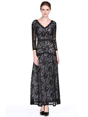 L ALYSSE Robe Maxi Tenue de Soirée Fête Dentelle Vintage Manche Longue pour  Femme Evening 7d41451fd82b