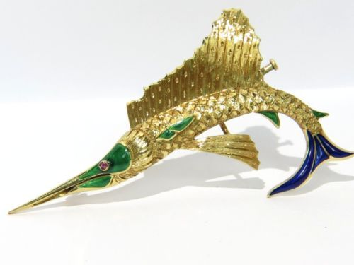 18KT-YELLOW-GOLD-VINTAGE-SWORDFISH-ENAMEL-3D-DESIGN-ANTIQUE-750