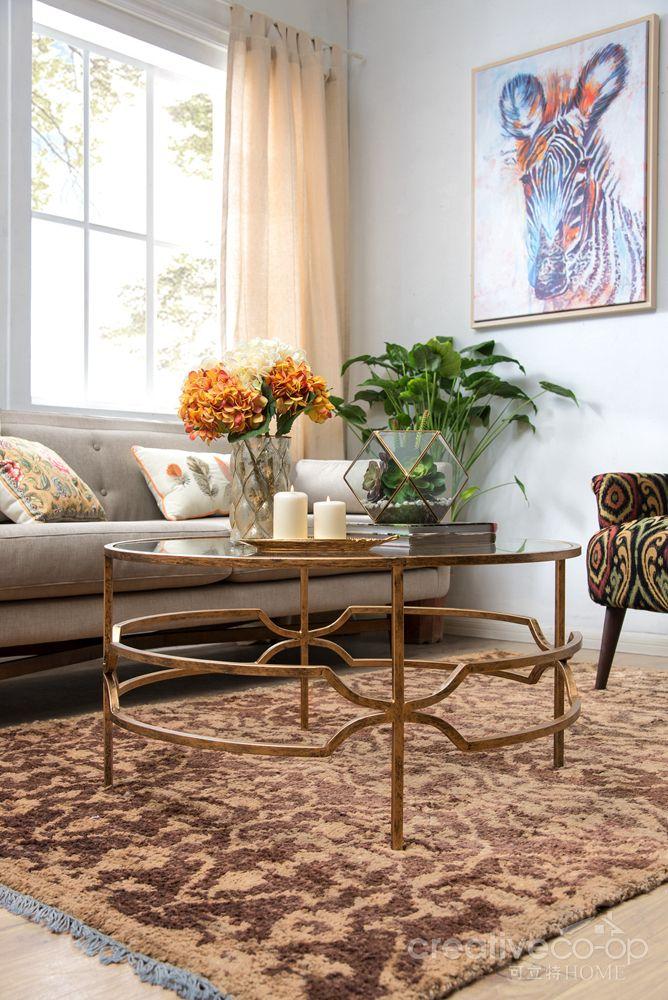 bohemian sofia antique brass metal & glass round coffee table