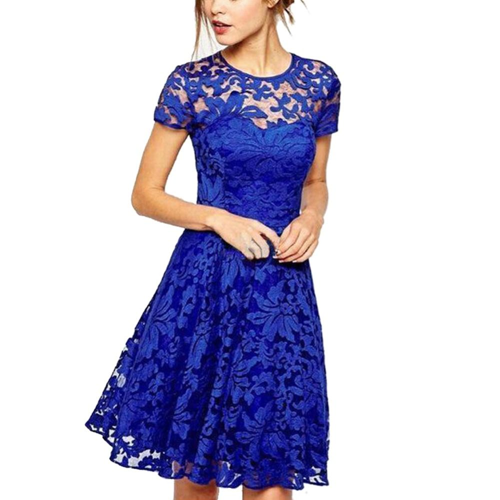 Hot women floral lace dress short sleeve party casual color blue red