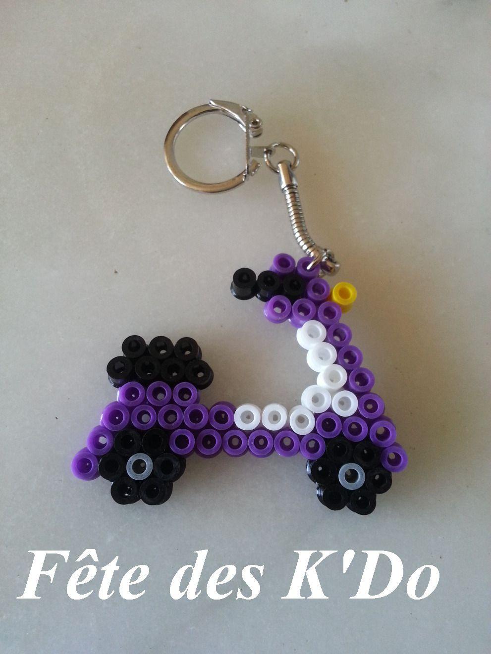 Porte cl s en forme de scooter violet en perles hama porte cl s par fetedeskdo divers fun - Porte cle perle ...