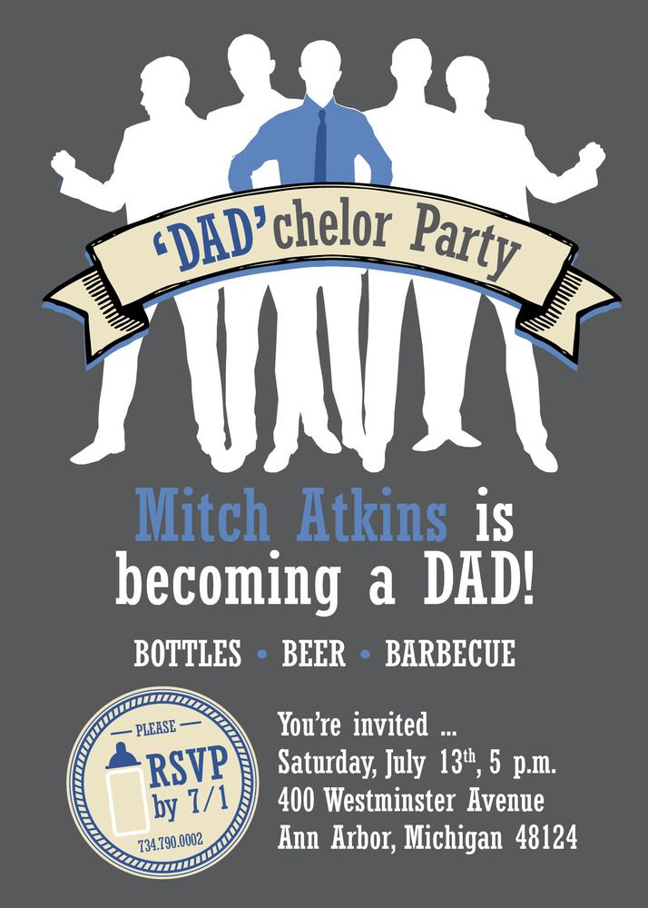 Dadchelor Party Invitation | Party invitations, Babies and Poker party