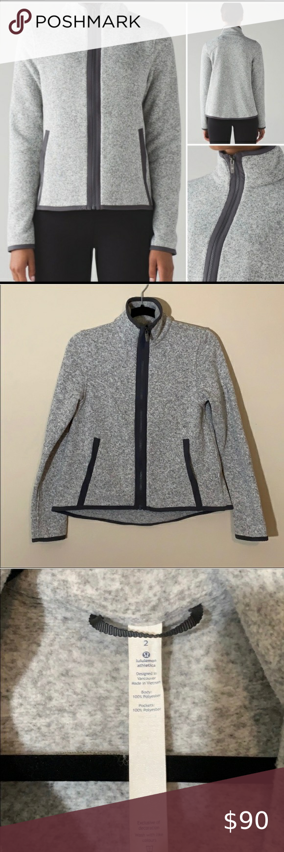 Lululemon fleece zip up Perfect condition Cotton fleece lululemon athletica Jackets & Coats #myposhpicks