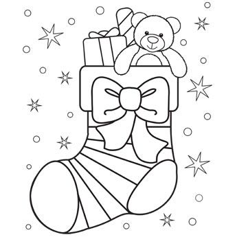 Christmas Coloring Pages Stocking Graphic Christmas Present
