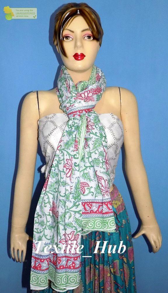 86a570e005cbe Indian Sarong Beach wear Hand Block Print Fabric Women Cotton Long Dupatta  Scarf #Unbranded #ShawlWrap #Casual