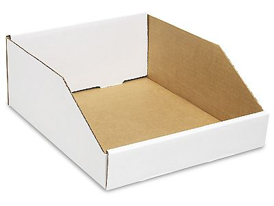 White Corrugated Bin 10 X 12 X 4 1 2 Holds 2 Wide 8 Deep 16 Jbs 100x 1 07 Per Box Cardboard Shipping Boxes Pop Display Mailing Supplies