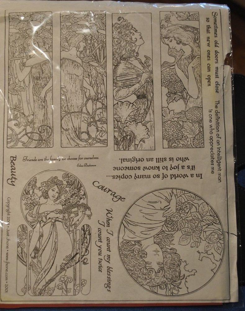 Just Jhone Art Nouveau Women Ladies Rubber Stamps Sayings Rare Art Nouveau Stamp Rubber Stamps