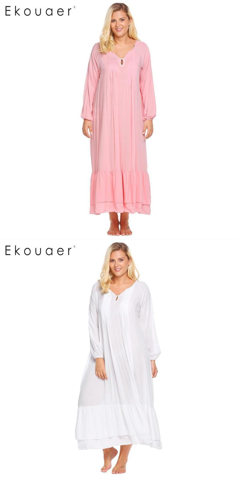 Casual notch neck lantern sleeve solid women long gown nightgown plus size   spandex 38c5816237c0