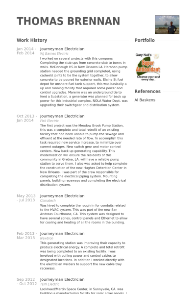 journeyman electrician resume samples sample template free