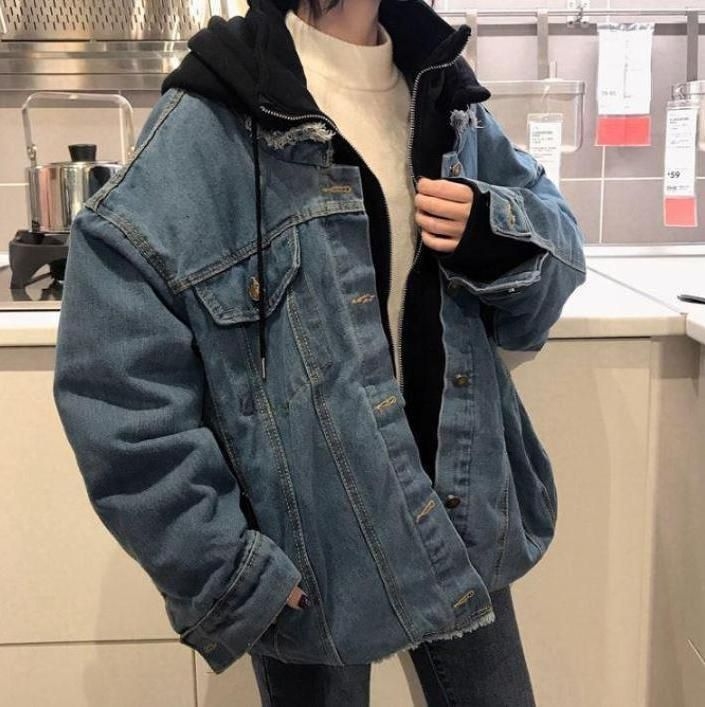 Oversize denim hooded thick jacket - #Denim #hooded #Jacket #Oversize #rupees #thick #90sfashion