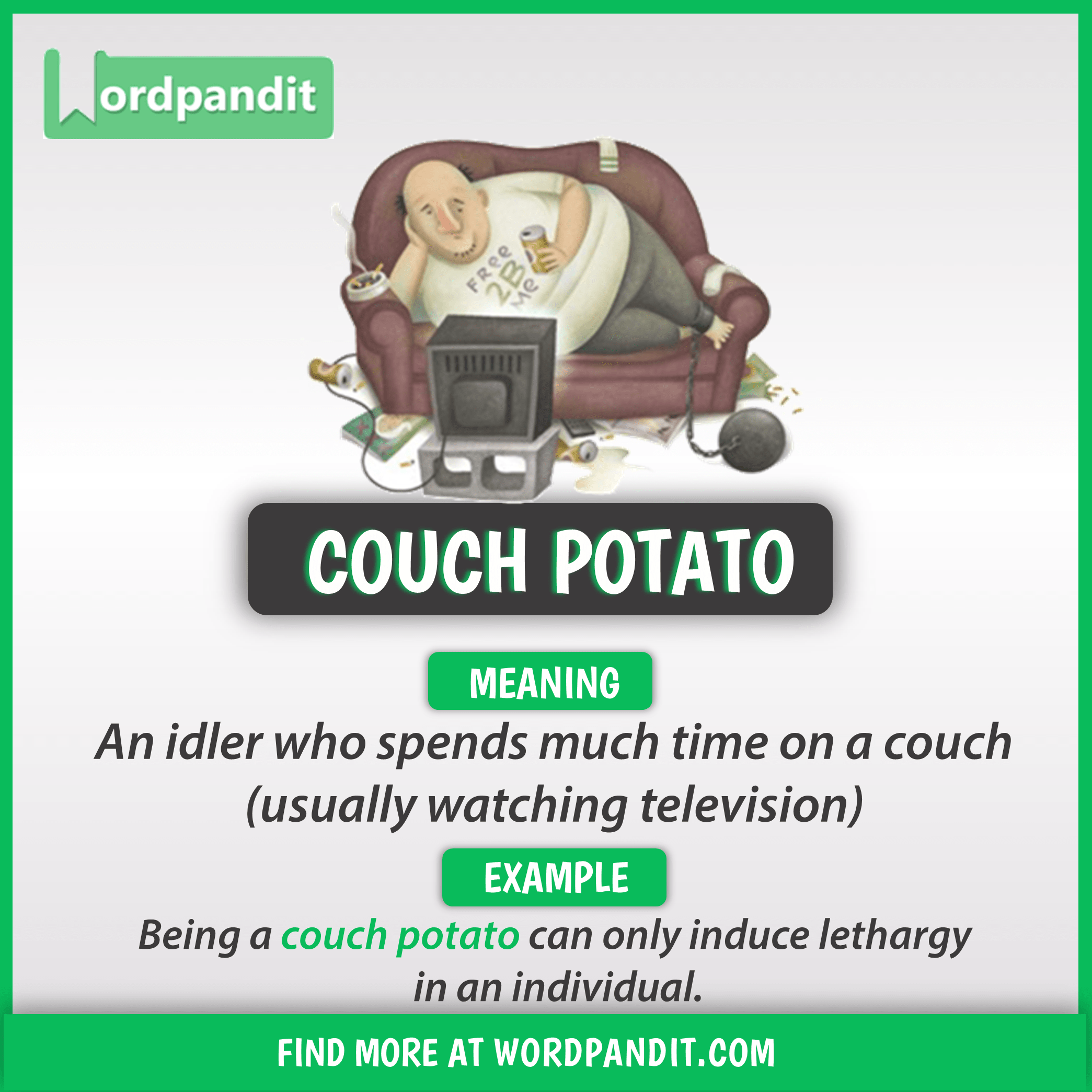 Meaning Of Couch Potato English Vocabulary Words Learn English