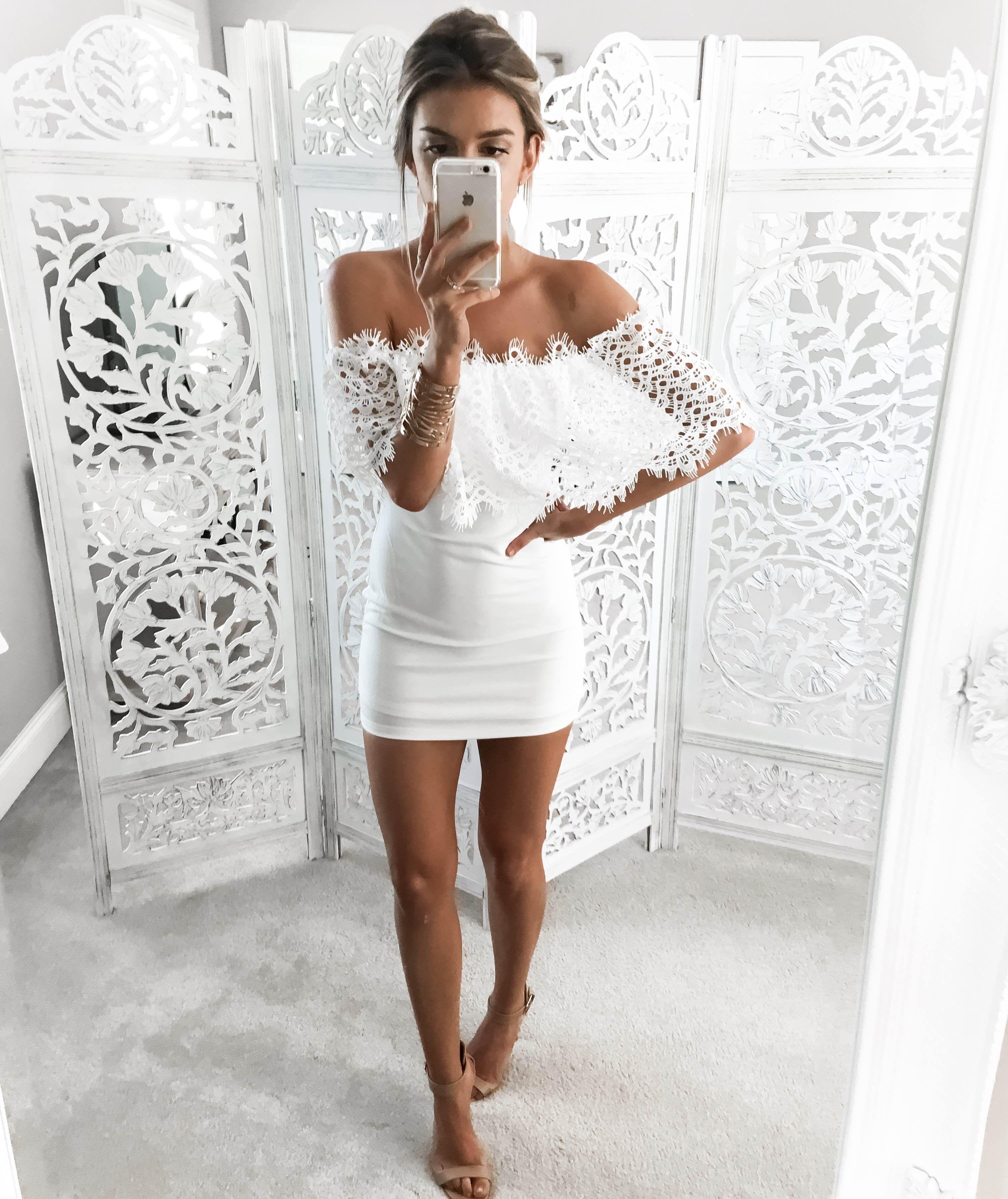 Miami White Lace Off Shoulder Mini Dress Skaira White Lace Mini Dress Lace White Dress Mini Dress [ 3596 x 3024 Pixel ]