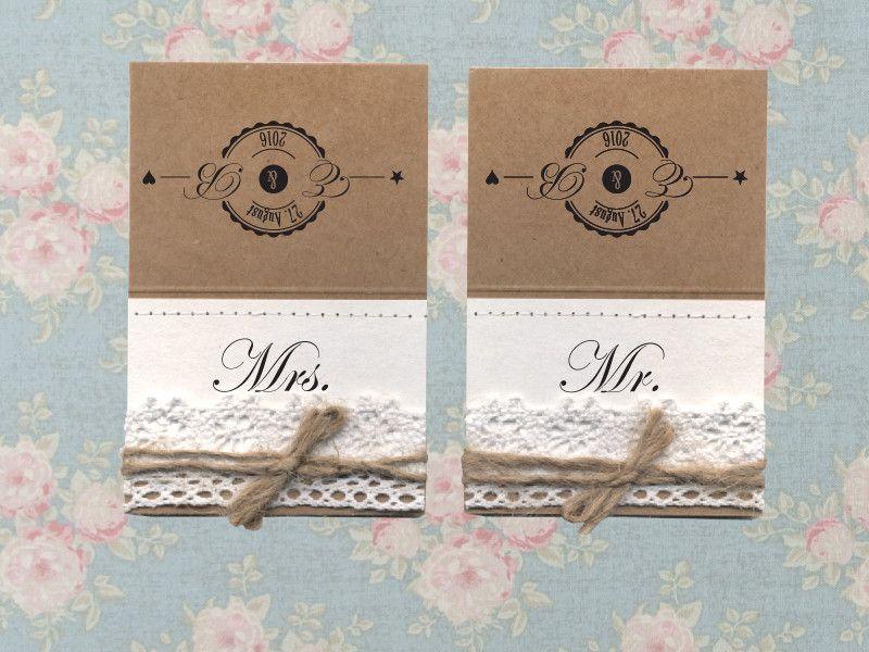 zwei Tischkarten Namenschilder Mrs. & Mr. von Papierwiese auf DaWanda.com