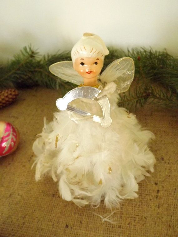 Vintage 1950 S Feather Angel Christmas Tree Topper Etsy Angel Christmas Tree Topper Vintage Christmas Tree Toppers Christmas Angels