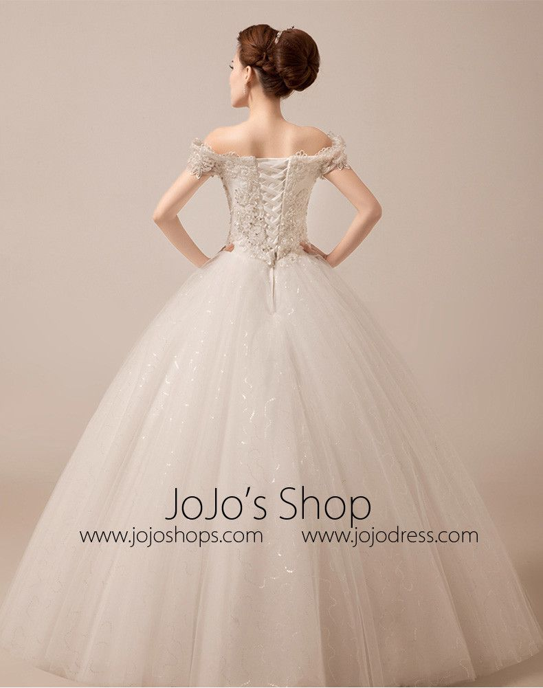 Off shoulder debutante ball gown with scallop lace edge mx