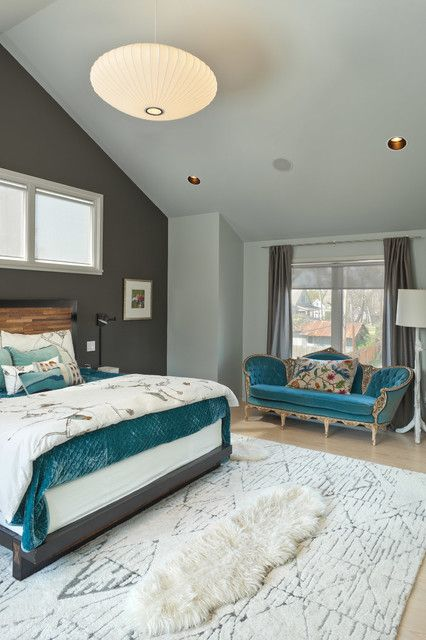 Contemporary Master Bedroom With Gray Walls And Light Hardwood Enchanting Teal Bedroom Design Design Inspiration