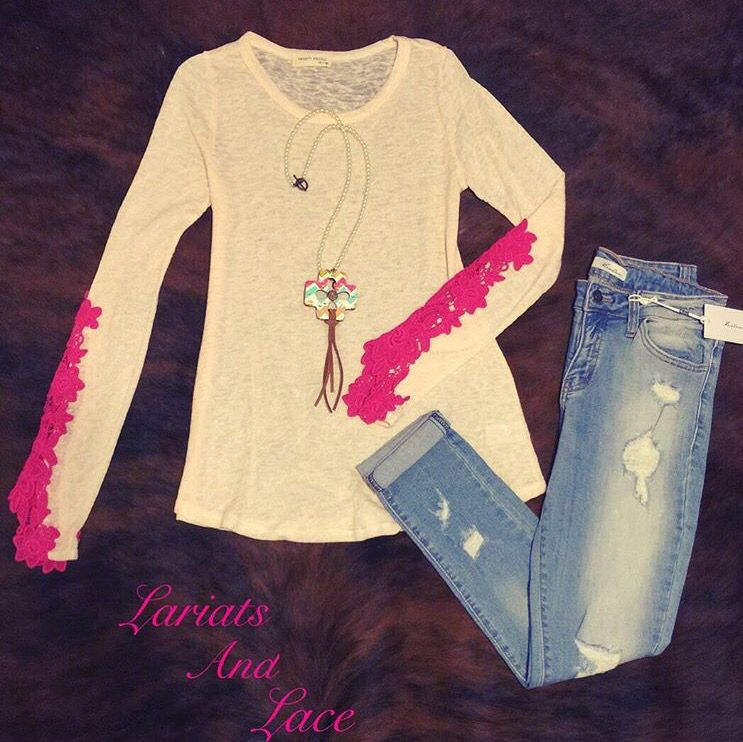 Lace shirt w/ distressed skinny jeans