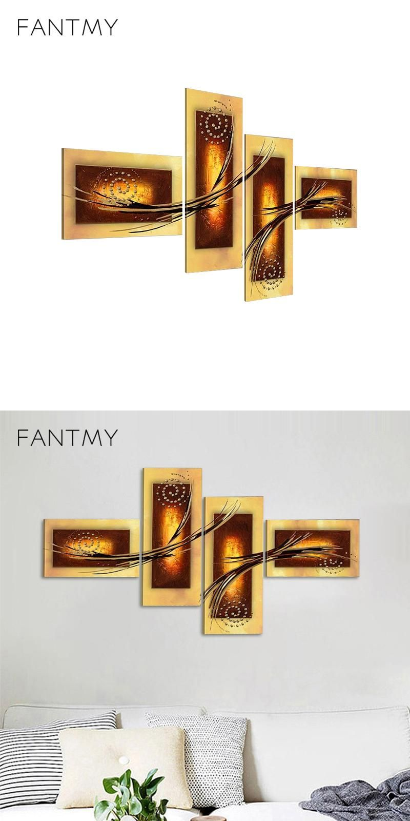FANTMY 4 Piece Hand Painted Wall Art Sets Hand Painted Modern ...