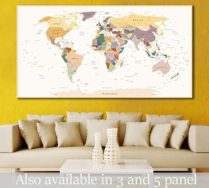 Detailed World Map №112 Canvas Print | Walls, Decor styles and Room