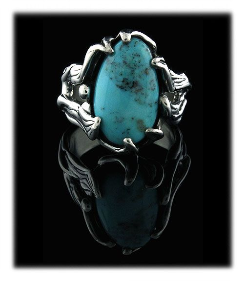 Blue Diamond Turquoise Silver Ring