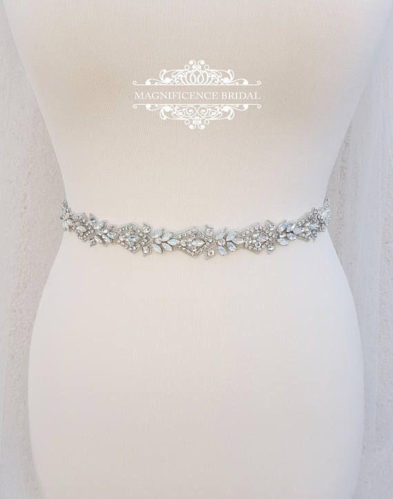 569663ab5a Opal bridal belt, thin bridal belt, wedding belt, bridal sash, thin ...