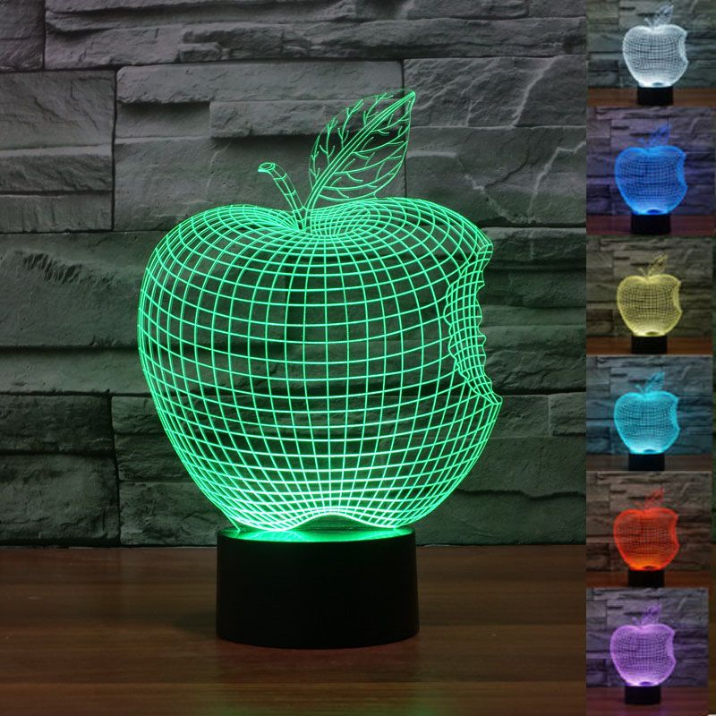 Apple 3d Led Acrylic Lamp Touch Led Lamp 7 Color Changing Night Light Lamparas De Mesa Table Lamps Living Room Ki 3d Led Lamp Night Light Lamp 3d Illusion Lamp