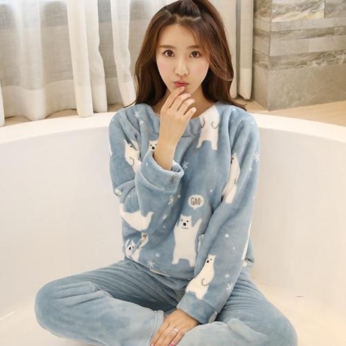 7880d4c591cc Cartoon Panda and Letter Pajama Sets Sleepwear Women Winter Flannel Plus  Size Full Length Warm Party Pyjamas Sleepwear For Women