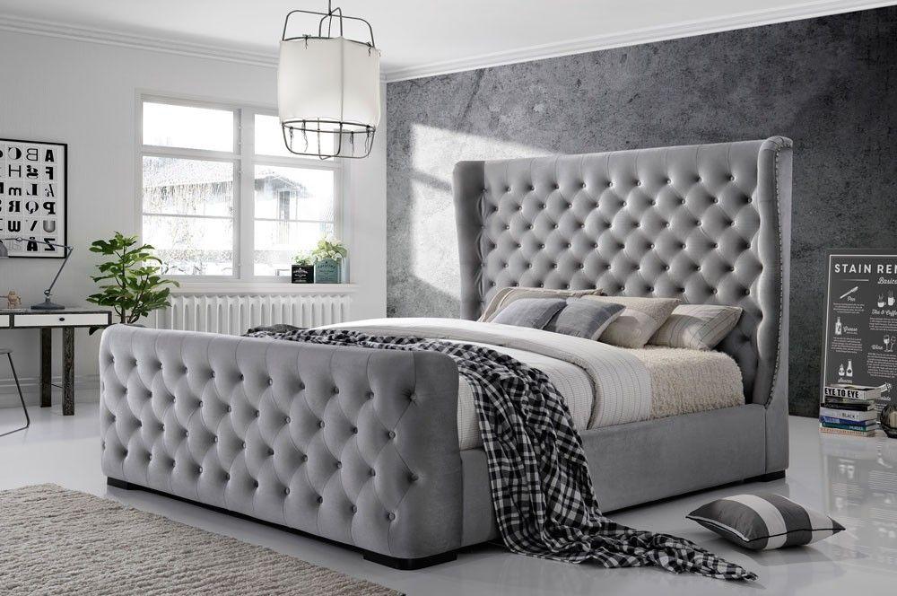 Winston Bed Button Tufted Grey Velvet Grey Bed Frame Velvet Bed