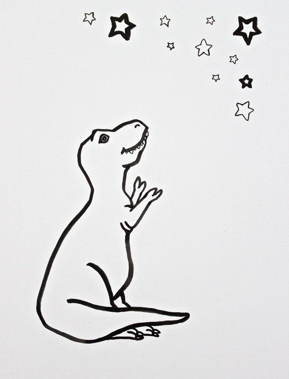 Dinosaur Drawing T Rex Original Art Originial Pen By Rhinartceros