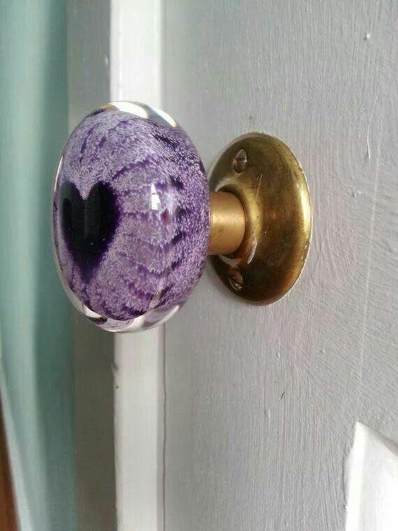 Attractive Glass Purple Heart Doorknob
