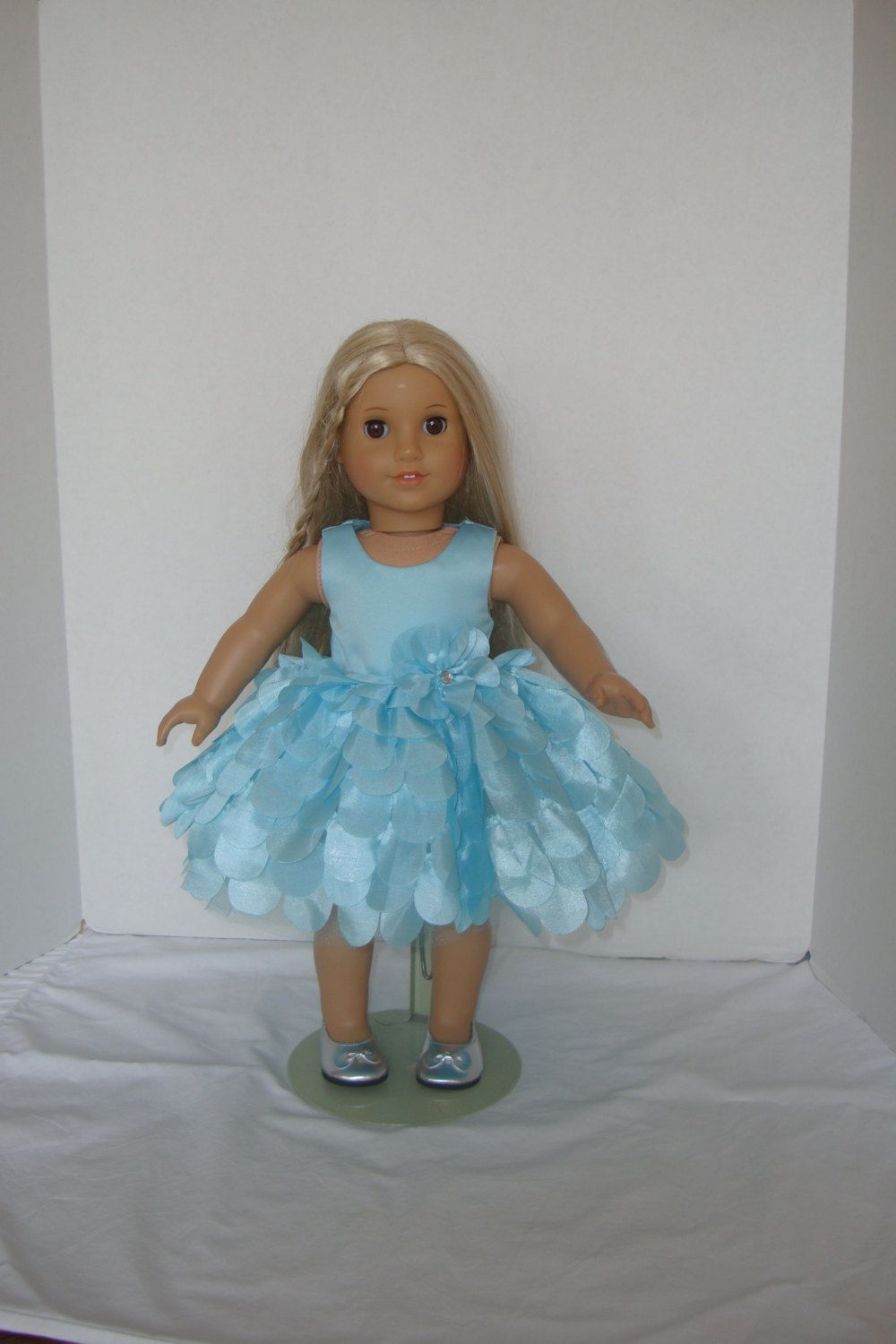 Fancy Scalloped Aqua Blue Formal Party Dress ...fits American Girl ...