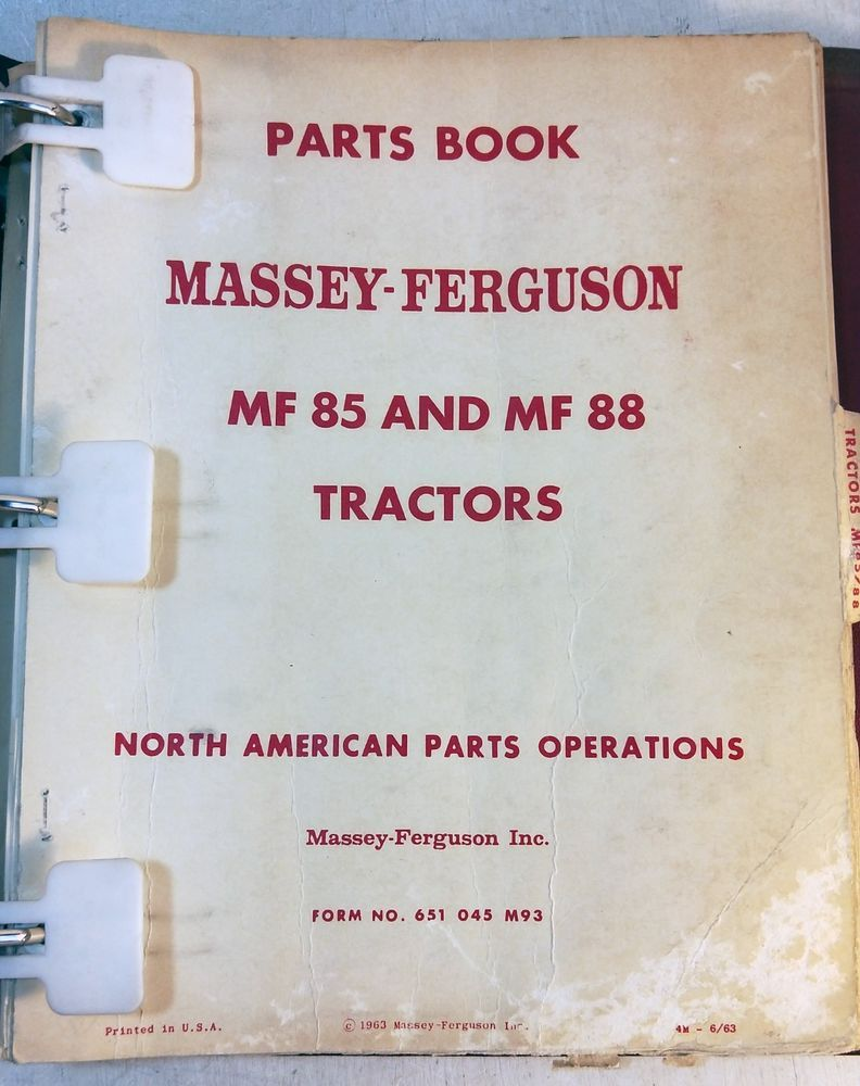 Massey Ferguson Tractor Parts Book Manual: MF85 MF88 651045M93 1963 (8109)  (eBay Link)