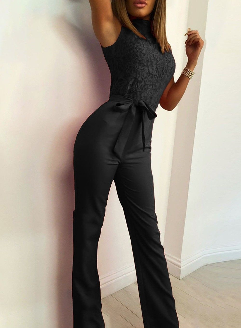 df065337e33 Lace Patchwork Jumpsuit Sexy Turtleneck Sleeveless Women Wide Leg Pants  Overalls Solid Skinny Sashes Bodysuit White red Color