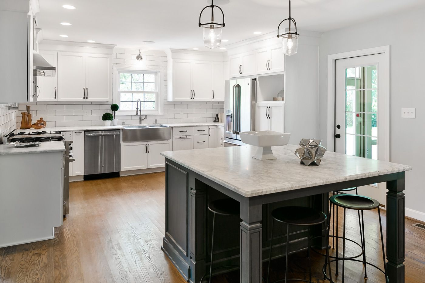 Cabinets And Carrera Marble Countertops
