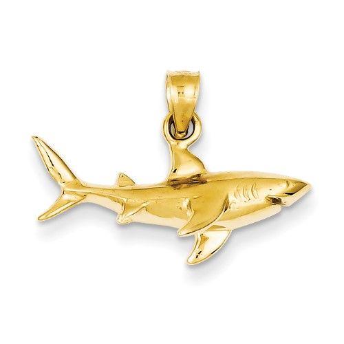 14k Yellow Gold Hammerhead Shark Charm Pendant