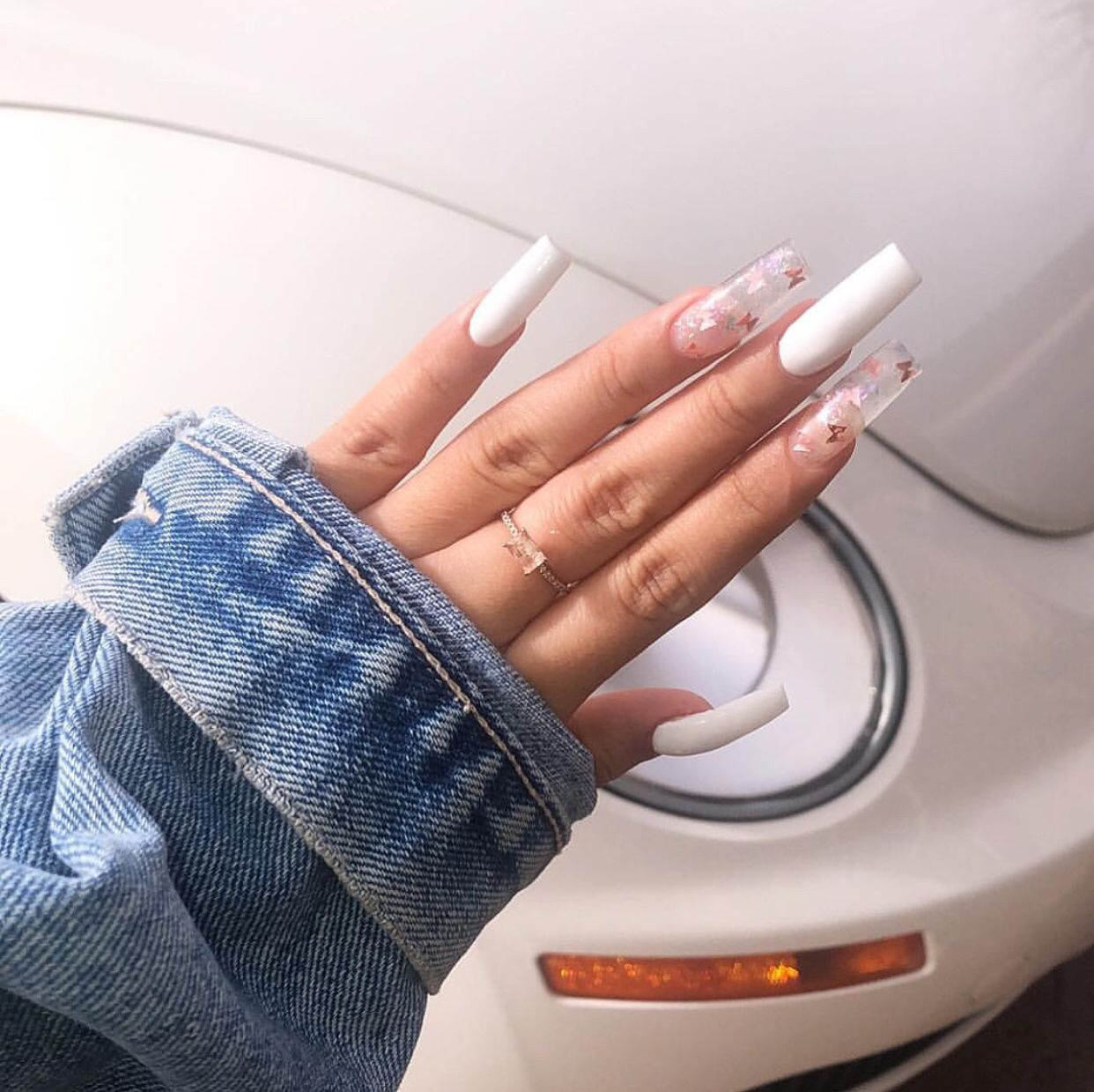 Long Square Nails Butterfly Decals Long Square Nails Long Square Acrylic Nails Clear Acrylic Nails